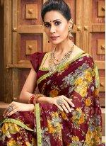 Faux Chiffon Floral Print Bollywood Saree in Maroon