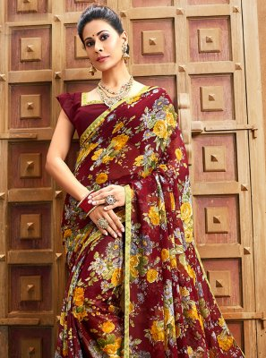 Faux Chiffon Floral Print Bollywood Saree in Maroon