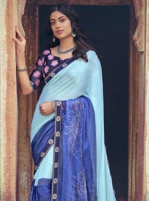Faux Chiffon Foil Print Printed Saree in Multi Colour