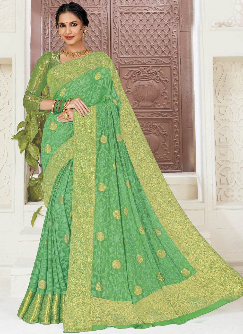 Faux Chiffon Green Contemporary Saree