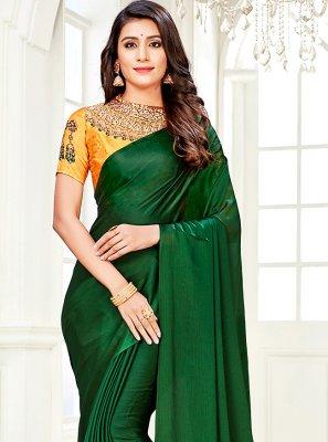 Faux Chiffon Green Diamond Trendy Saree