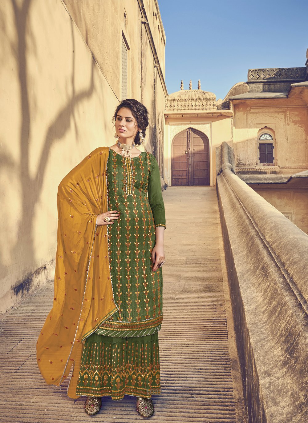 Faux Chiffon Green Embroidered Designer Pakistani Salwar Suit