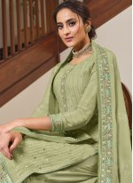 Faux Chiffon Green Embroidered Palazzo Designer Suit