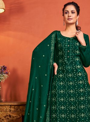 Faux Chiffon Green Fancy Designer Palazzo Salwar Suit