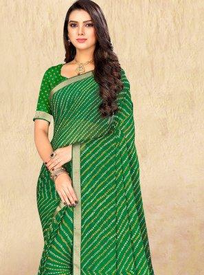 Faux Chiffon Green Print Casual Saree