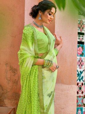 Faux Chiffon Green Printed Printed Saree