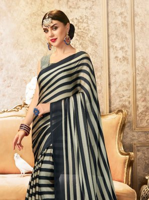 Faux Chiffon Grey Printed Saree