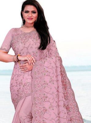 Faux Chiffon Lavender Resham Classic Saree