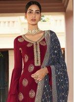 Faux Chiffon Maroon Designer Palazzo Salwar Suit