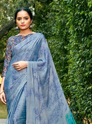 Faux Chiffon Multi Colour Abstract Print Printed Saree