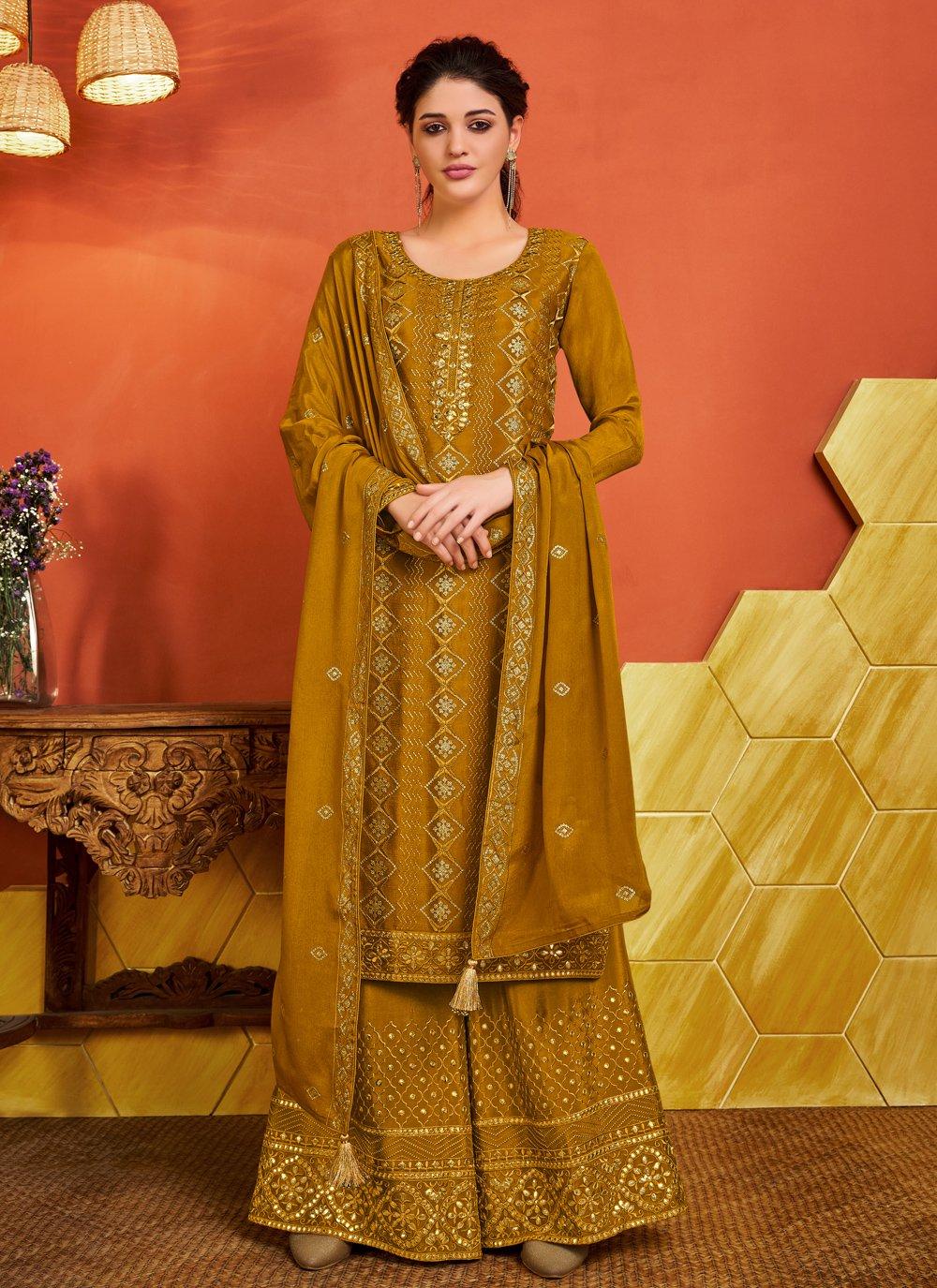 Faux Chiffon Mustard Designer Palazzo Salwar Suit