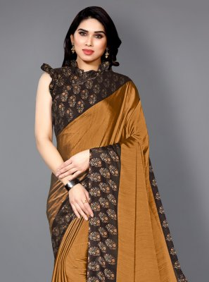 Faux Chiffon Mustard Printed Traditional Saree