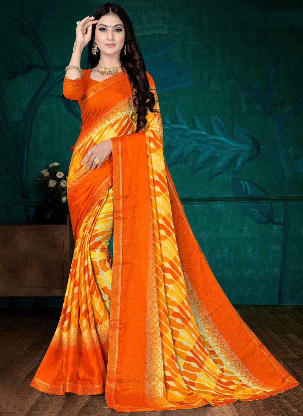 Faux Chiffon Orange Printed Saree