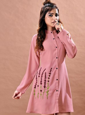 Faux Chiffon Peach Embroidered Designer Kurti