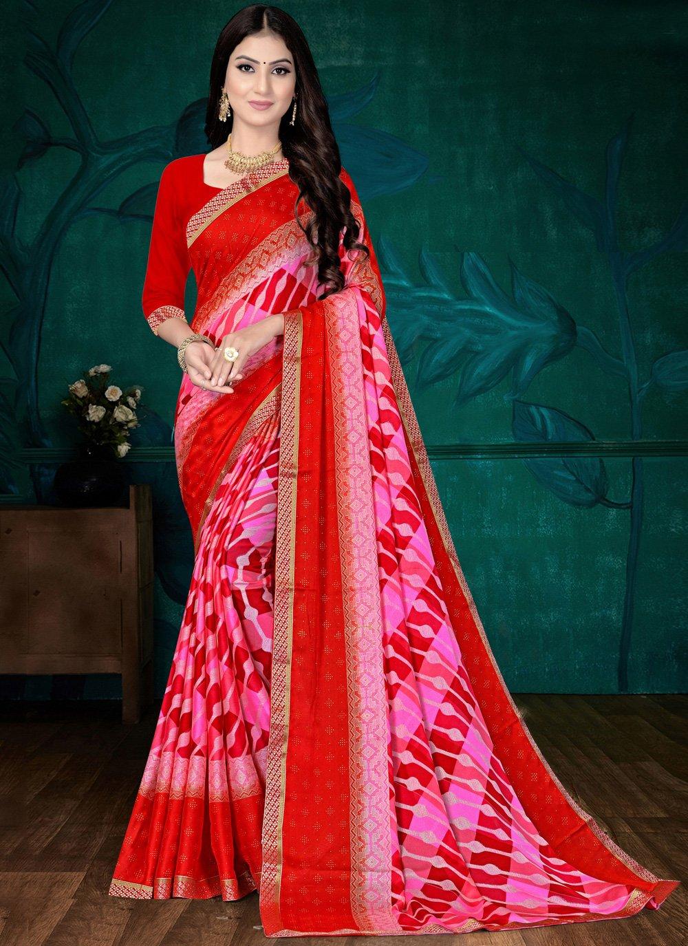 Faux Chiffon Pink and Red Abstract Print Printed Saree