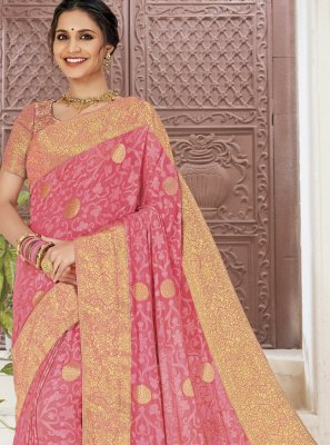 Faux Chiffon Pink Classic Saree