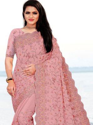 Faux Chiffon Pink Embroidered Classic Designer Saree