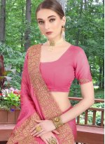 Faux Chiffon Pink Embroidered Classic Saree