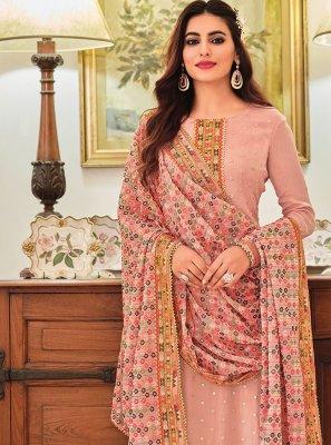 Faux Chiffon Pink Embroidered Designer Pakistani Suit