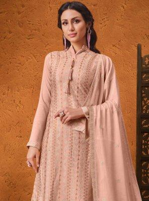 Faux Chiffon Pink Sequins Designer Palazzo Suit