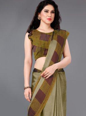 Faux Chiffon Printed Beige Trendy Saree
