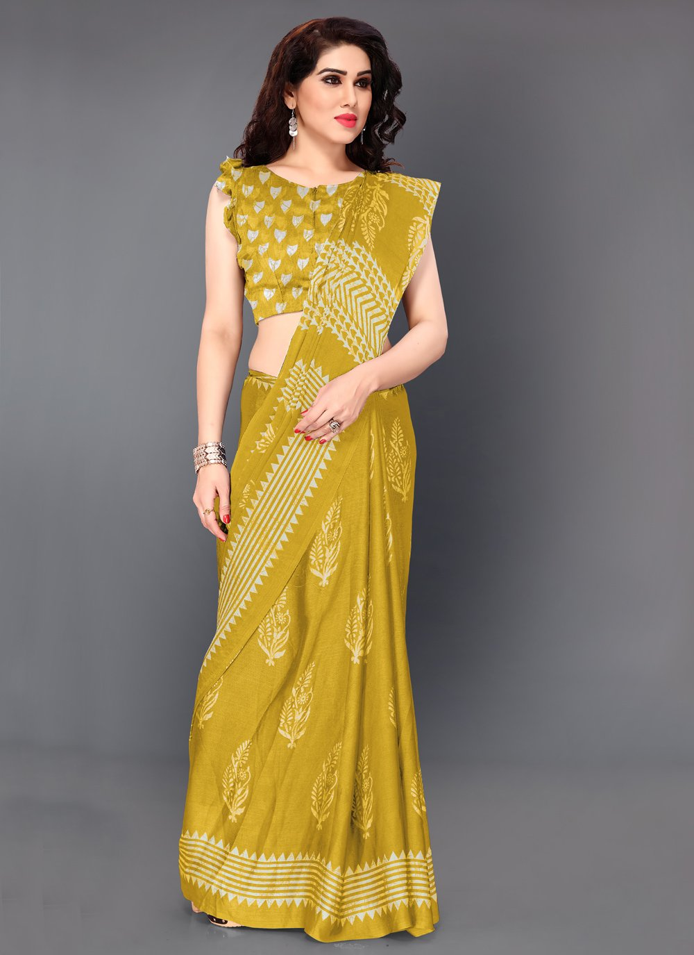 Faux Chiffon Printed Bollywood Saree