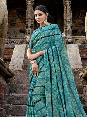 Faux Chiffon Printed Bollywood Saree in Blue