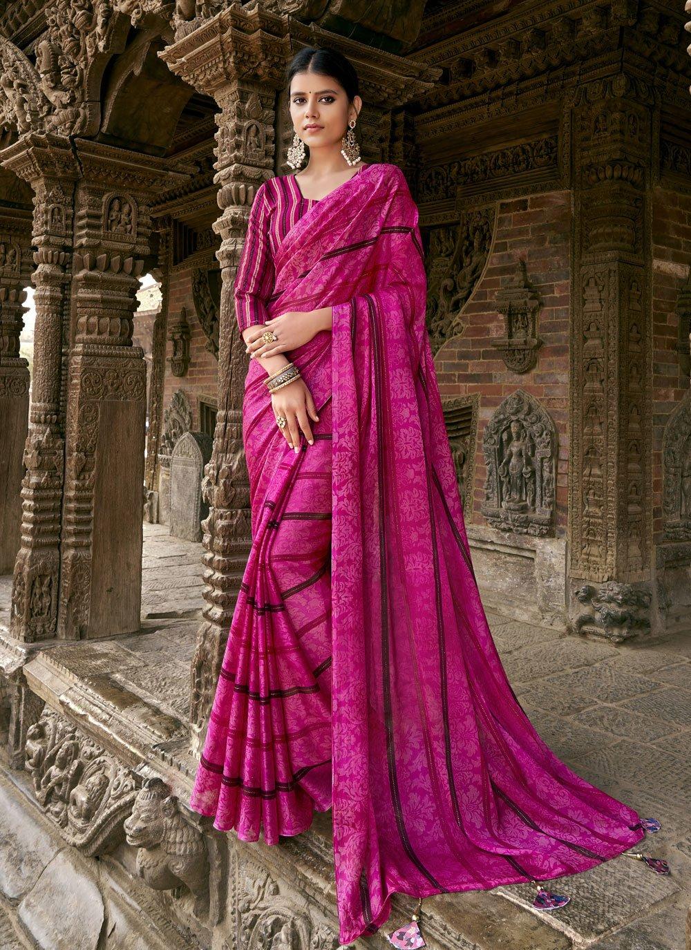 Faux Chiffon Printed Classic Saree in Pink
