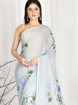 Faux Chiffon Printed Printed Saree in Blue