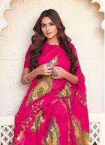 Faux Chiffon Printed Printed Saree in Multi Colour