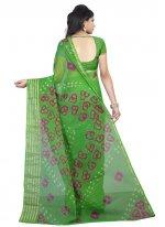Faux Chiffon Printed Saree in Green