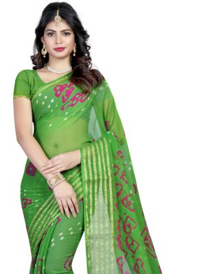 Faux Chiffon Printed Saree in Green