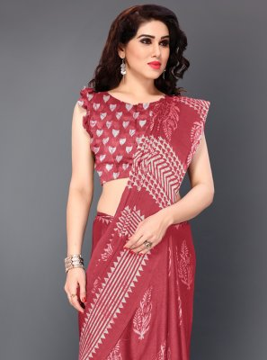 Faux Chiffon Printed Traditional Saree