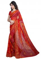 Faux Chiffon Red Printed Saree