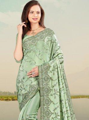 Faux Chiffon Sea Green Designer Traditional Saree