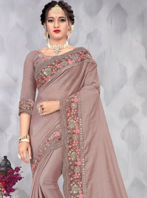 Faux Chiffon Sequins Designer Saree in Mauve