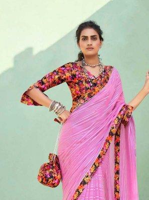Faux Chiffon Trendy Saree in Pink