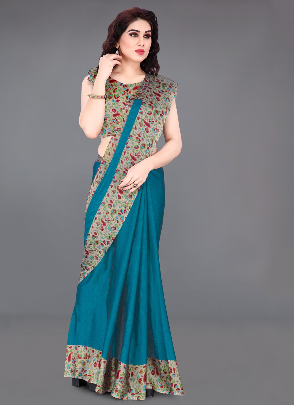 Faux Chiffon Turquoise Abstract Print Casual Saree