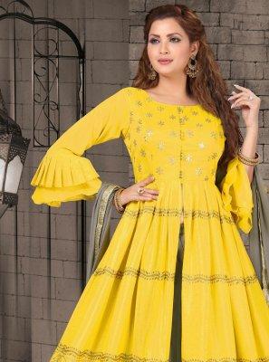 Faux Chiffon Yellow Readymade Suit