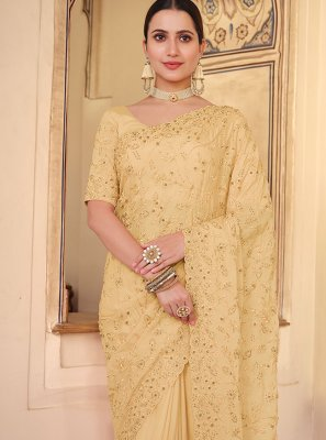 Faux Chiffon Yellow Resham Traditional Saree