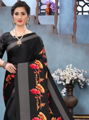 Faux Crepe Abstract Print Black Printed Saree