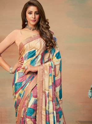 Faux Crepe Abstract Print Saree in Multi Colour