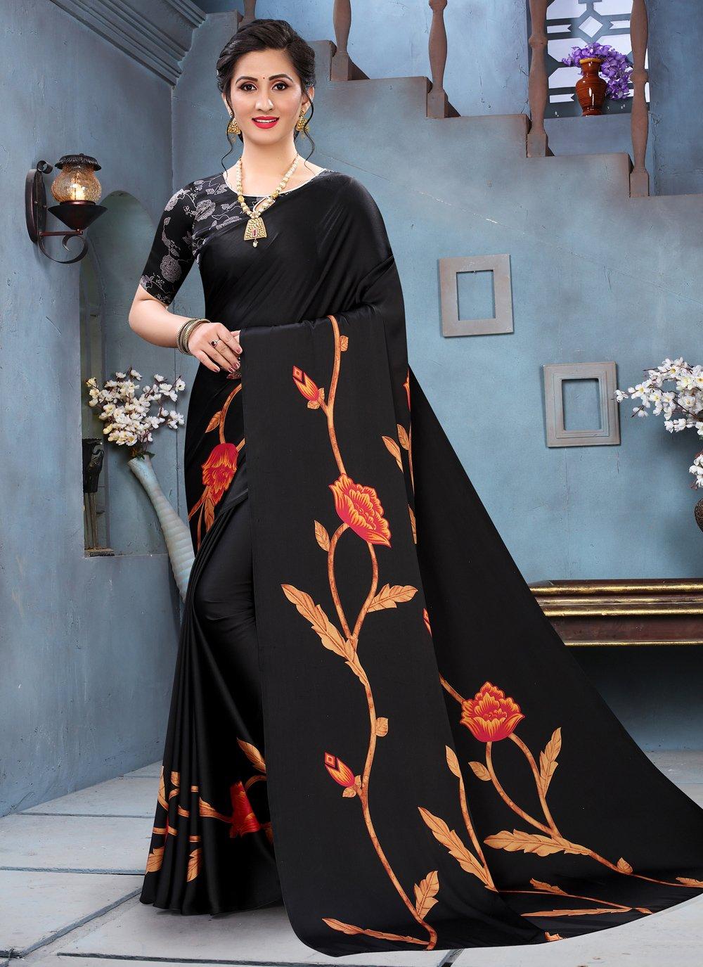 Faux Crepe Black Abstract Print Printed Saree