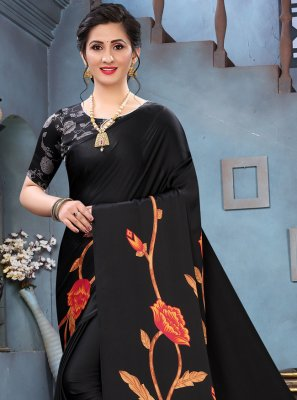 Faux Crepe Black Abstract Print Printed Saree