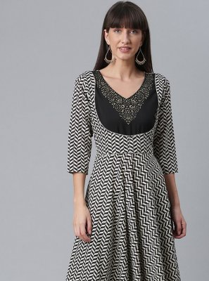 Faux Crepe Black and White Printed Party Wear Kurti