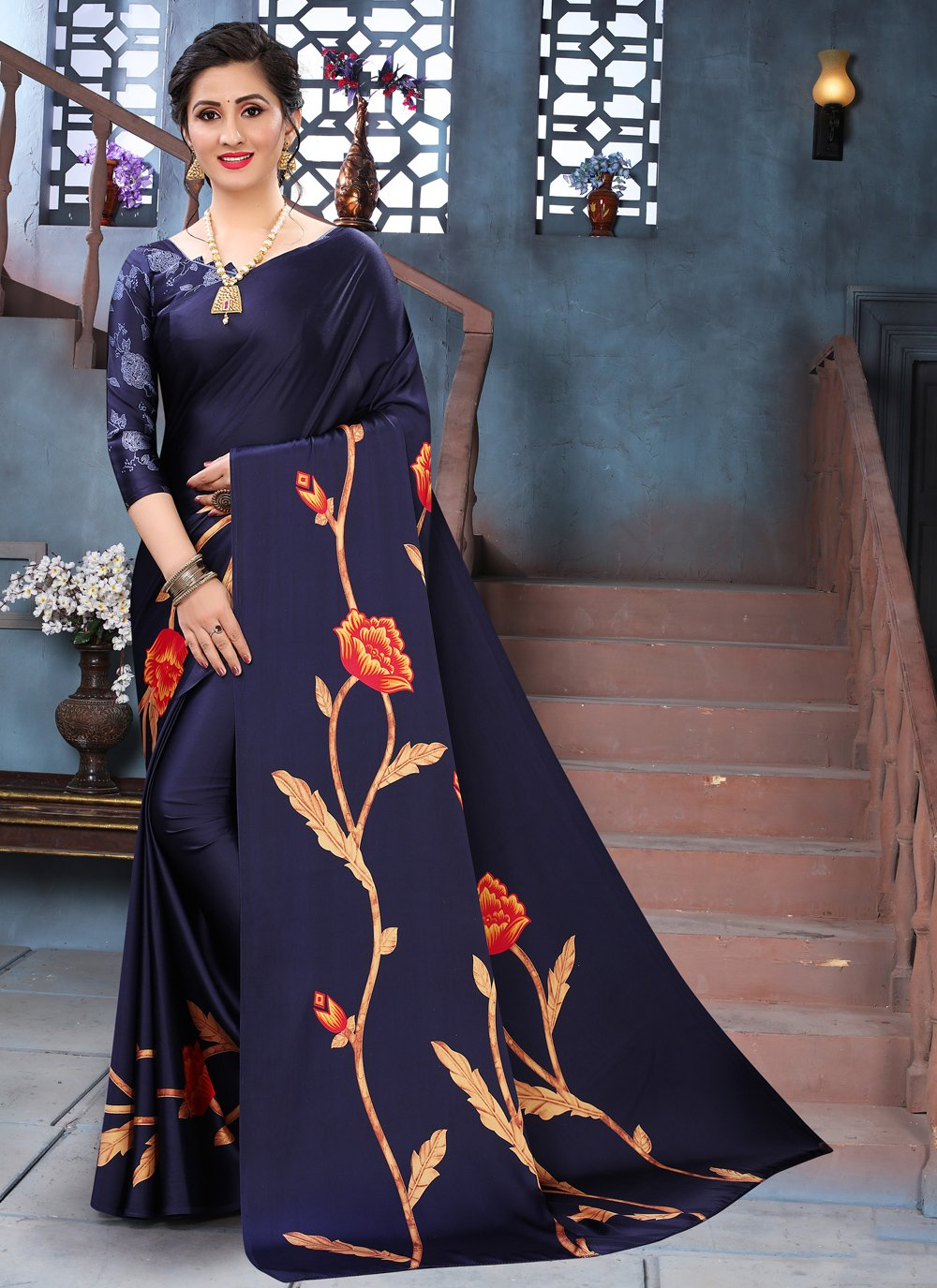 Faux Crepe Blue Abstract Print Printed Saree
