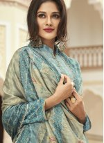 Faux Crepe Blue Embroidered Designer Palazzo Salwar Suit
