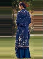 Faux Crepe Blue Printed Palazzo Suit