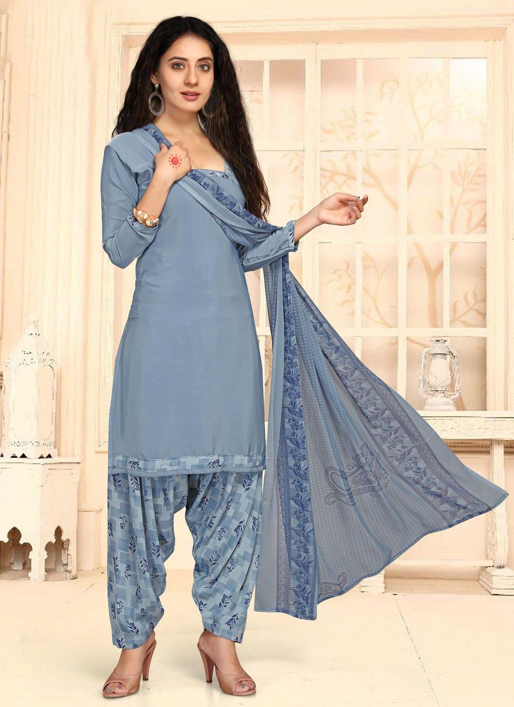 Faux Crepe Blue Punjabi Suit