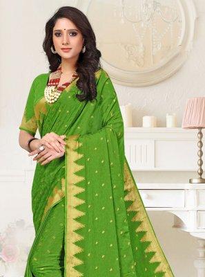 Faux Crepe Classic Designer Saree in Green
